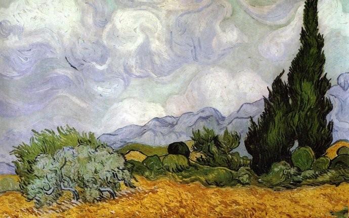 梵高鄉間風景畫《麥田與柏樹》   在圣雷米時期的梵高,將創作的重心轉移到形體的表現上。本幅畫沒有鮮明色彩的對比,取而代之的是曲線所構成的扭動形體。絲柏就是他所鐘情的主題之一,在他的眼中,絲柏樹具有天生的表現力。他將絲柏樹神秘的暗色當成是音樂中的一個個音符,是繪畫與音樂這兩門藝術之間相通的神秘之門,使他為此著迷。絲柏樹常常使梵高聯想到埃及的方尖碑。在他的心目中,常與神秘和死亡相聯系的絲柏樹與象征幸福與富裕的向日葵成為鮮明的對比,具有等同的地位。 責任編輯:小萌