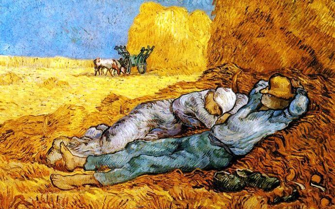 梵高乡间风景画《午间休息(临摹米勒)》
