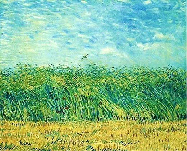 梵高乡间风景画《有云雀的麦田》   这种只属于凡高一人的金黄色麦田,透视了整个天空,而再由天空透视了我们的视觉以及心灵的波动。麦田与天空是相互透视出来的精神的丰满和心灵的自由。不管是来自于印象派的点彩还是透视法,都被他的精神的狂热带动到很辽阔的境界去。 责任编辑:小萌