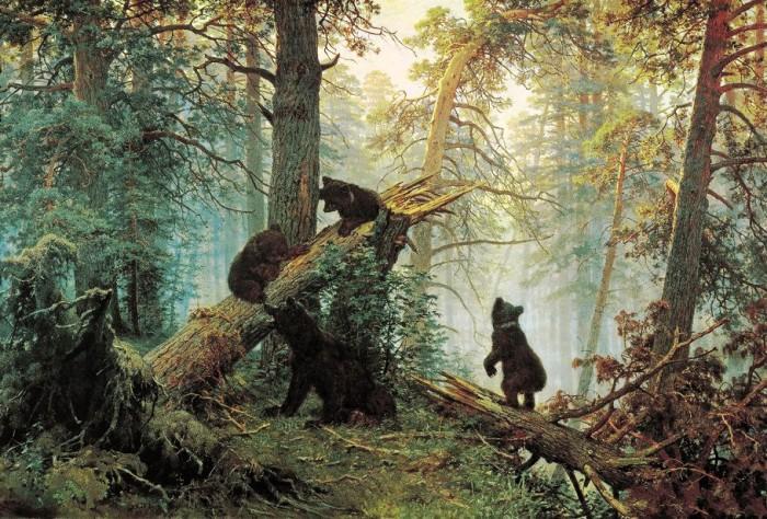 俄國現實主義畫家希施金風景油畫《松樹林之晨》   伊凡伊凡諾維奇希施金(Ivan I. Shishkin)(18321898)是19世紀俄國巡回展覽畫派最具代表性的風景畫家,也是19世紀后期現實主義風景畫的奠基人之一。   這幅油畫;揭示了森林中神秘和幽深的意境,使人身臨其境,心曠神怡。這幅油畫;把我們帶入一種非常優美的詩意般的境界中:朝霧彌漫,金色的陽光透過朝霧灑向林間,清新潮潤的空氣浸潤著茂密的樹林,你仿佛可以呼吸到甘美新鮮的空氣,嗅到林中青苔的芳香在這靜謐的環境中,幾只活潑可愛的小熊在母熊