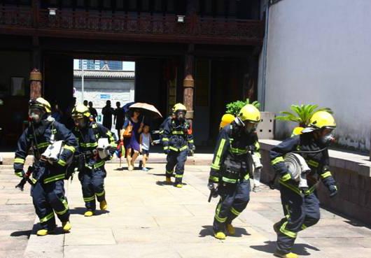 [宁波]文物、消防部门在庆安会馆举行联合消防演习
