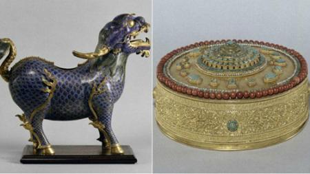 丹枫白露宫中被盗的景泰蓝麒麟(左)与金曼扎(右)-图片版权归原作者所有