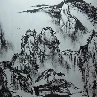 墨色生韵:水在山间流,山在水中立