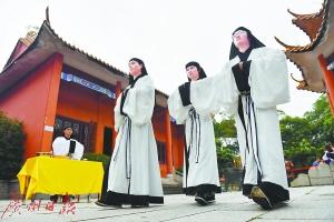 明代祭礼江门重现 百余位传统文化爱好者汇聚崖山海战遗址
