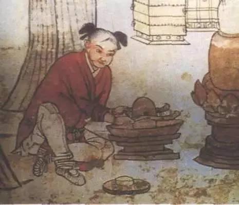 宣化辽墓壁画中的碾茶童子-图片版权归原作者所有