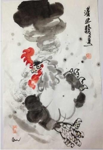 水墨画家张汉忠《汉忠鸡》赏析