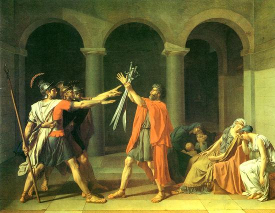 大卫的油画《荷拉斯兄弟之誓》赏析