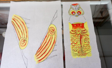 学员绘画完成的沙燕翅膀和门子-图片版权归原作者所有