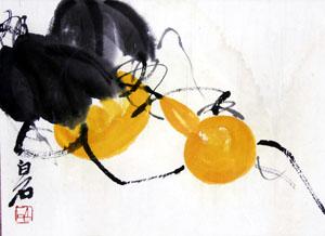 吴昌硕与齐白石所画的《葫芦》各有妙趣