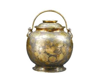 赏析:鎏金鹦鹉纹提梁银罐