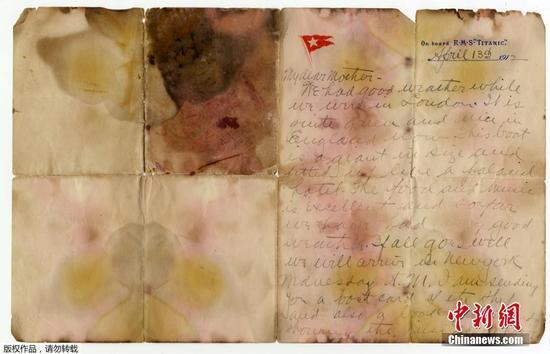 泰坦尼克号遇难者信件拍卖 超16万美元成交