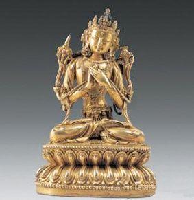 明铜鎏金文殊菩萨像
