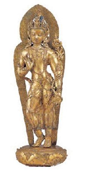 清铜鎏金弥勒菩萨站像