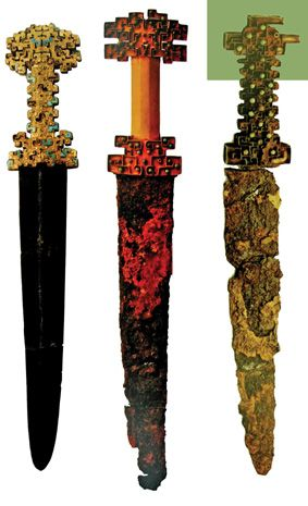 豪华别致的金柄铁剑