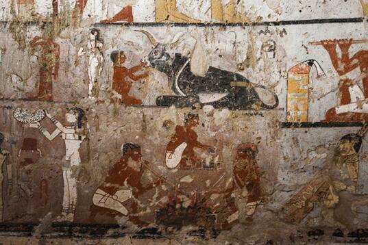 埃及考古学家公布古王国时期女祭司古墓及其壁画