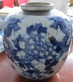 哥釉龙纹青花罐