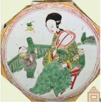 名瓷欣赏—五彩仕女婴戏纹瓷板