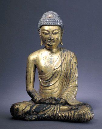 铜鎏金佛坐像