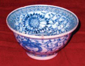 青花鱼藻纹折沿碗