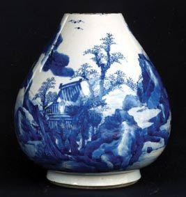 青花山水景物图瓶