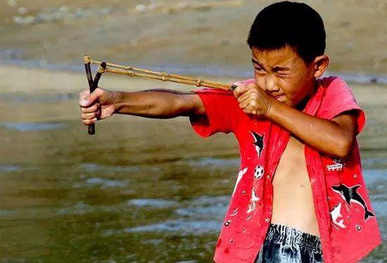 弹弓:游童挟弹一麾肘,臆碎羽分人不悲
