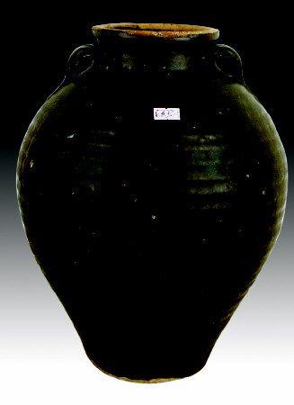 婺州窑酱釉双系罐