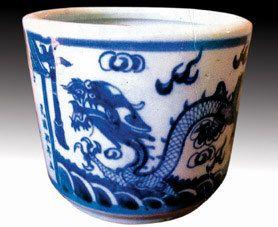 民国青花龙纹瓷香炉