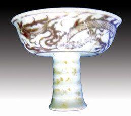 元代釉里红龙纹高足杯