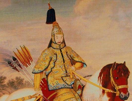 河北围场县档案馆收藏满绣作品《乾隆皇帝戎装骑马图》