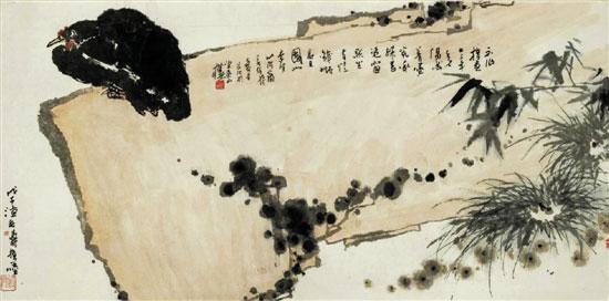 潘天寿:磐石墨鸡图解析