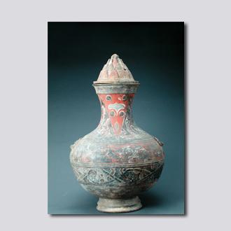 彩绘铺首博山盖陶壶