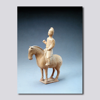 黄釉骑马男俑