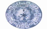 清代德化窯青花錦地開光花卉紋盤