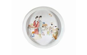 雍正瓷盤描畫二喬盛世美顏